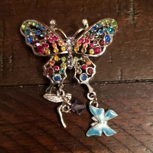 Kirk's folly rainbow butterfly pin